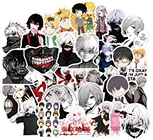 50 Pcs Cool Anime Waterproof Vinyl Stickers for Tokyo Ghoul,Cool Stickers Decals Pack for Boys Girls Adults Teens,Funny Non-Repetitive Stickers for Laptop Waterbottle MacBook Flasks Phone Computer.