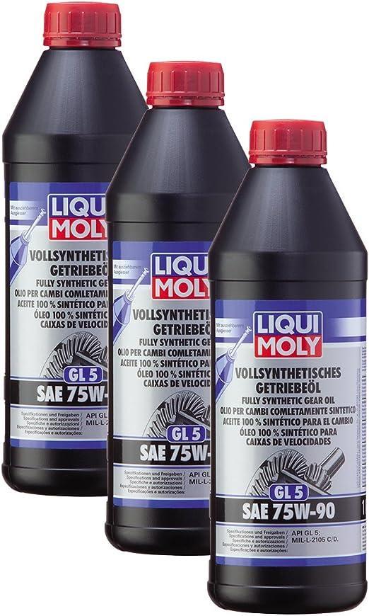 3x Liqui Moly 1414 Vollsynthetisches Getriebeöl Gl5 Sae 75w 90 1l Auto