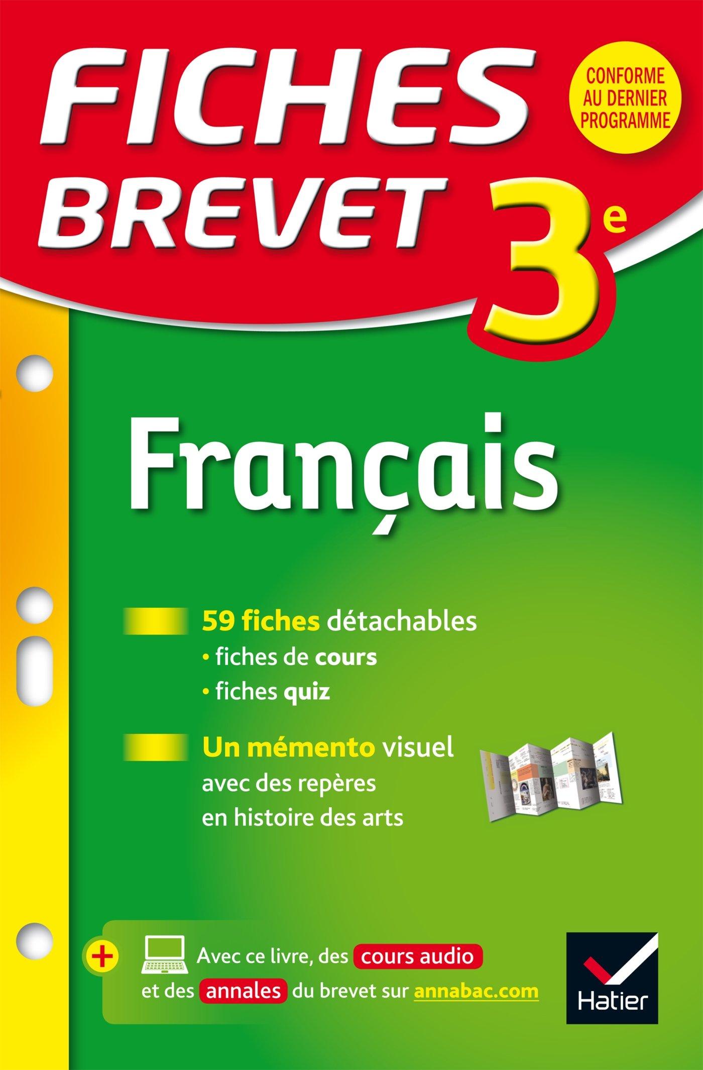 Amazon Fr Fiches Brevet Francais 3e Fiches De Revision