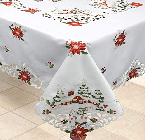 Red Tulle Christmas Tablecloth Tulle and Sequin Bells Table Cloth Table Topper Red Tablecloth Retro Christmas Decor Mid Century