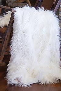 North End Decor Faux Fur, Mongolian Long Hair White Throw Blankets, 50x60 Large