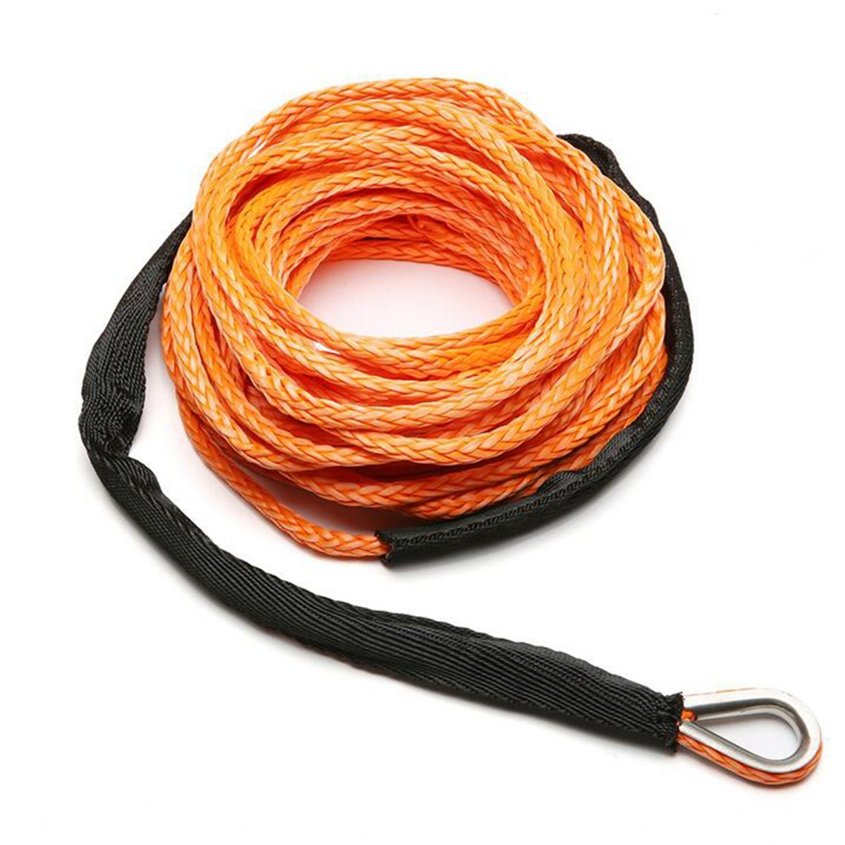MOEBULB Car Synthetic Winch Rope Kit 5700+LBs 50'x1/4'' Winch Line Cable Sheath Winches ATV UTV SUV Truck Boat Ramsey Stainless Steel Thimble (Orange) by MOEBULB (Image #3)