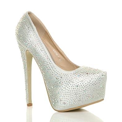 Ajvani womens high heel diamante wedding evening prom platform court shoes