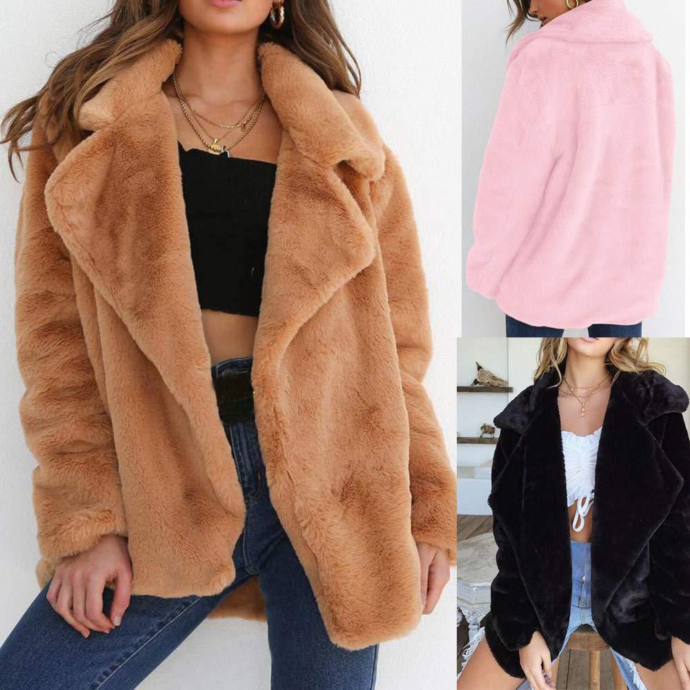 JiaMeng Abrigo de Invierno Manténgase abrigado Abrigos Sueltos Abrigo de Piel con Cuello Grande de algodón Outwear: Amazon.es: Ropa y accesorios