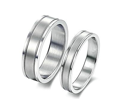 Amazon.com: AnaZoz 2 piezas Juego de anillo banda plana de ...