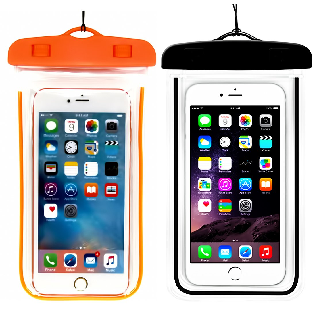 (2Pack) Waterproof Case, CaseHQ Universal IPX8 Waterproof Phone Pouch Underwater Phone Case Bag Neck Strap for iPhone X/8/8+/7/7+ Galaxy S9/S8/S8/Note 8,Google Pixel/LG/HTC up to 6.0''-black+orange