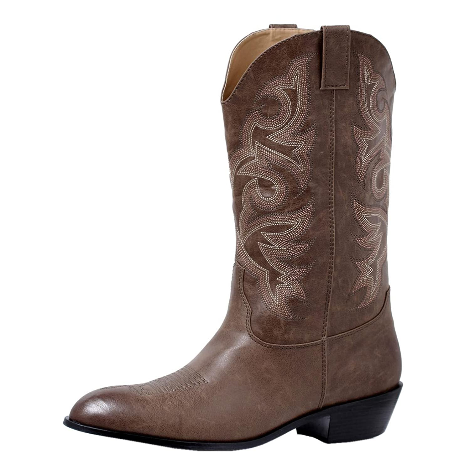 Men's Brown Cowboy Boots with Intricate Stitching Brown Western ...