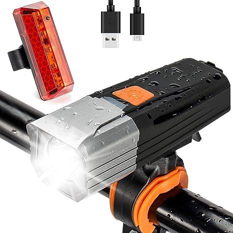 DOOK Luz Bicicleta, Luces Bicicleta Recargable USB, Lámpara ...