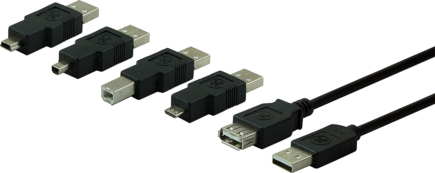 GE Universal USB 2.0 Adapter Kit, 6ft. A Male to A Female Cable, 4 Adapters Included: A Male to B Male, A Male to Mini B (4 Pin), A Male to Mini B (5 Pin), A Male to Micro USB, USB 1.1 Compatible, 33758