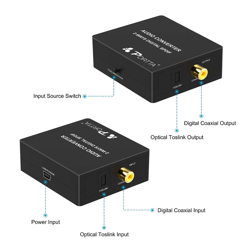 Portta Optical TOSLINK a Coaxial O Coaxial SPDIF a Toslink Convertidor de Audio Digital Bidireccional 2 vías SPDIF Optico a Coax O Coaxial a óptico ...