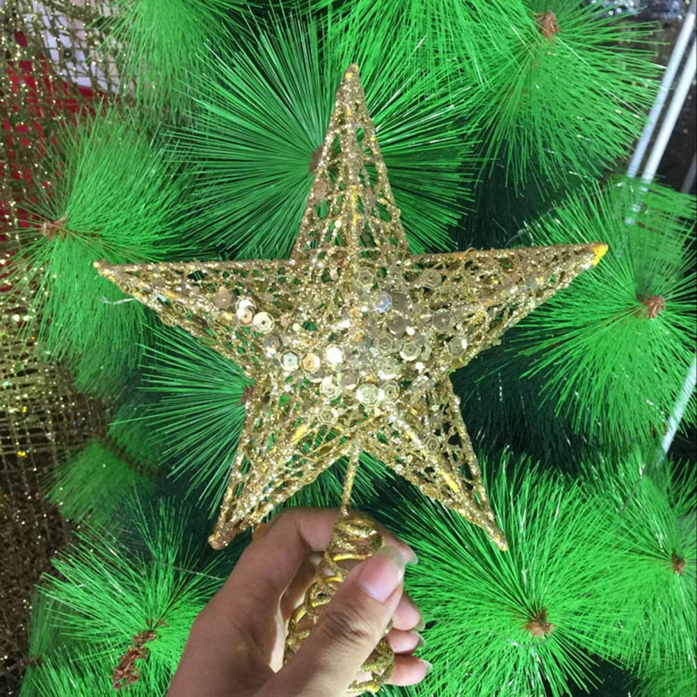 BESTOYARD 30 cm Star Tree Topper Weihnachten Golden Glitter Star ...
