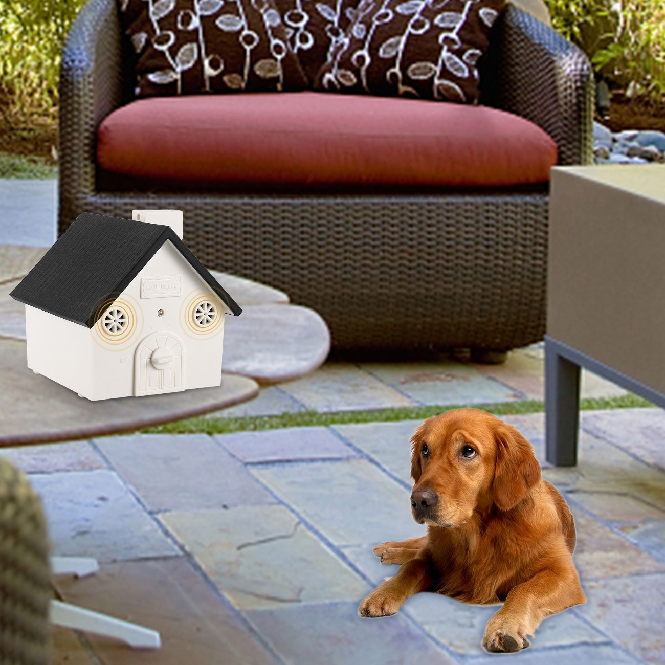 Sonic Bark Deterrents Bark Control Device 2019 New Bark Box Outdoor Dog Repellent Device with Adjustable Ultrasonic Level Control Safe for Dogs ELenest Anti Barking Device