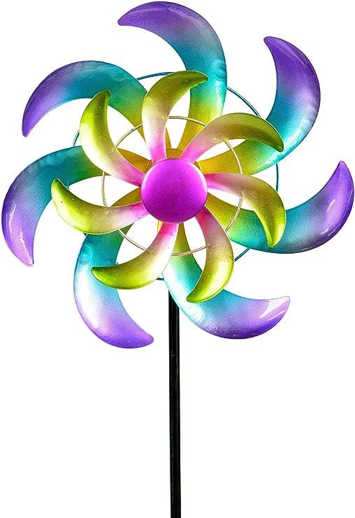 dekojohnson - Molino de viento para el jardín de metal, con compartimentos de metal, diseño de molinillos de viento, doble lila/verde, 110 cm, grande: Amazon.es: Jardín