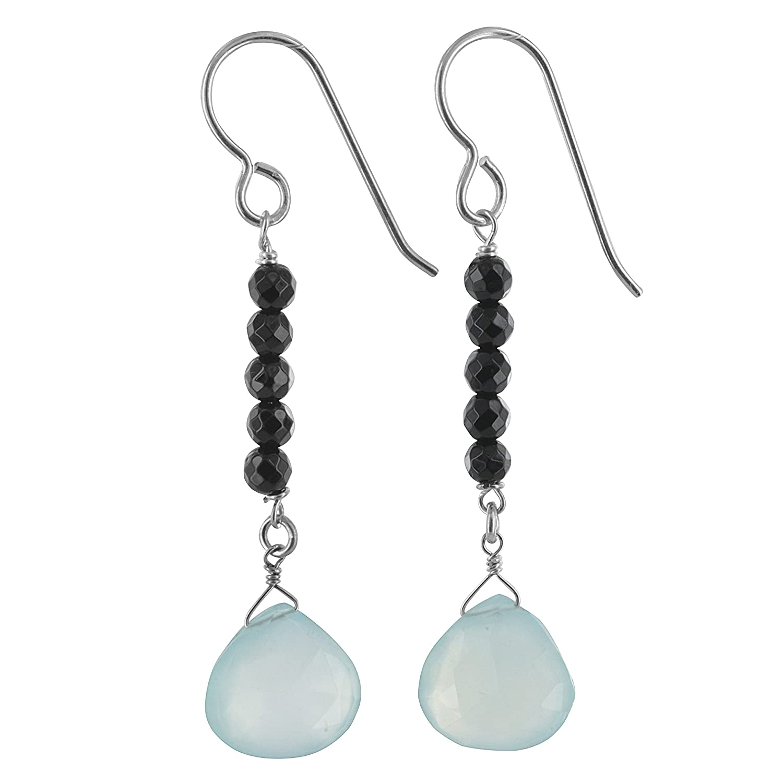 ASHANTI Aqua Chalcedony and Black Onyx Natural Gemstone Sterling Silver Handmade Earrings