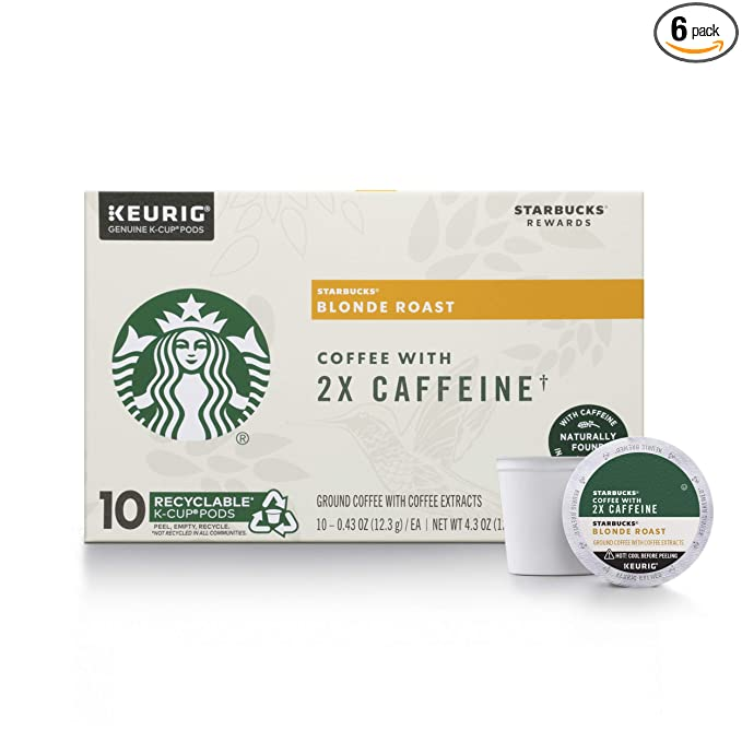 Amazon Com Starbucks Blonde Roast K Cup Coffee Pods With 2x Caffeine For Keurig Brewers 6 Boxes 60 Pods Total Grocery Gourmet Food