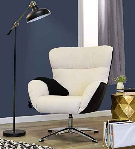 Serta Rylie Lounge Chair, Mid-Century Upholstered Collaborative Office Accent Chair, Designed for Modern Conference Rooms, Bonded Leather and Microfiber, Cream and Black