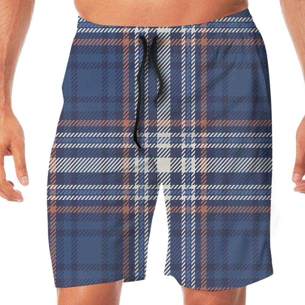 Haixia Men Lightweight Boardshorts Checkered Abstract Striped Design Scottish