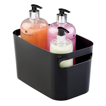 InterDesign Una Organizador plástico, cesta de almacenaje pequeña para hogar y hobbies, negro