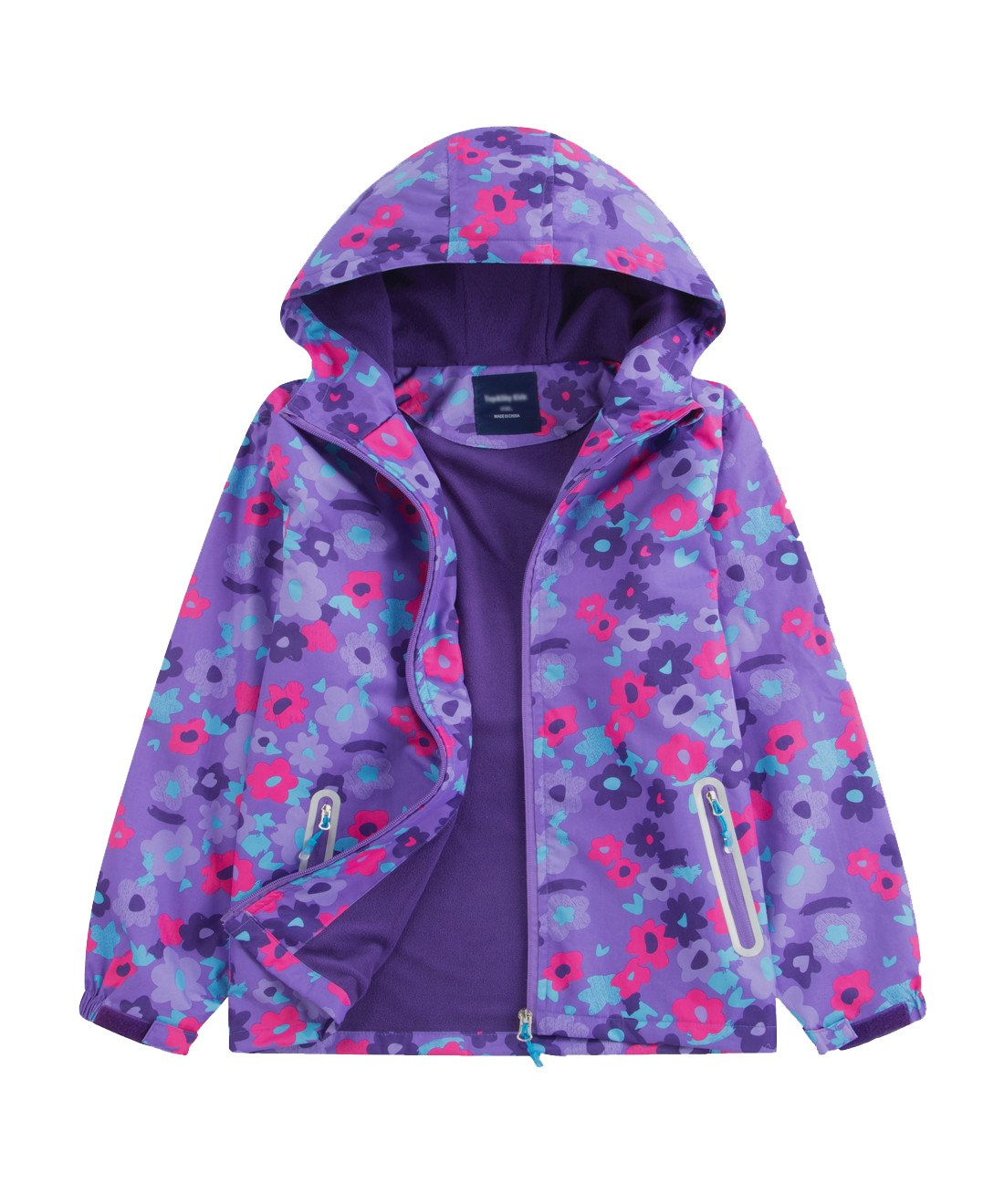 M2C Girls Outdoor Floral Fleece Lined Light Windproof Jacket with Hood 6/7 Violet