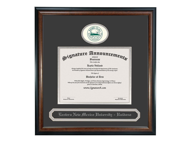 Signature Announcements Eastern New Mexico University Ruidoso Undergraduate Sculpted Foil Seal /& Name Graduation Diploma Frame 16 x 16 Matte Mahogany