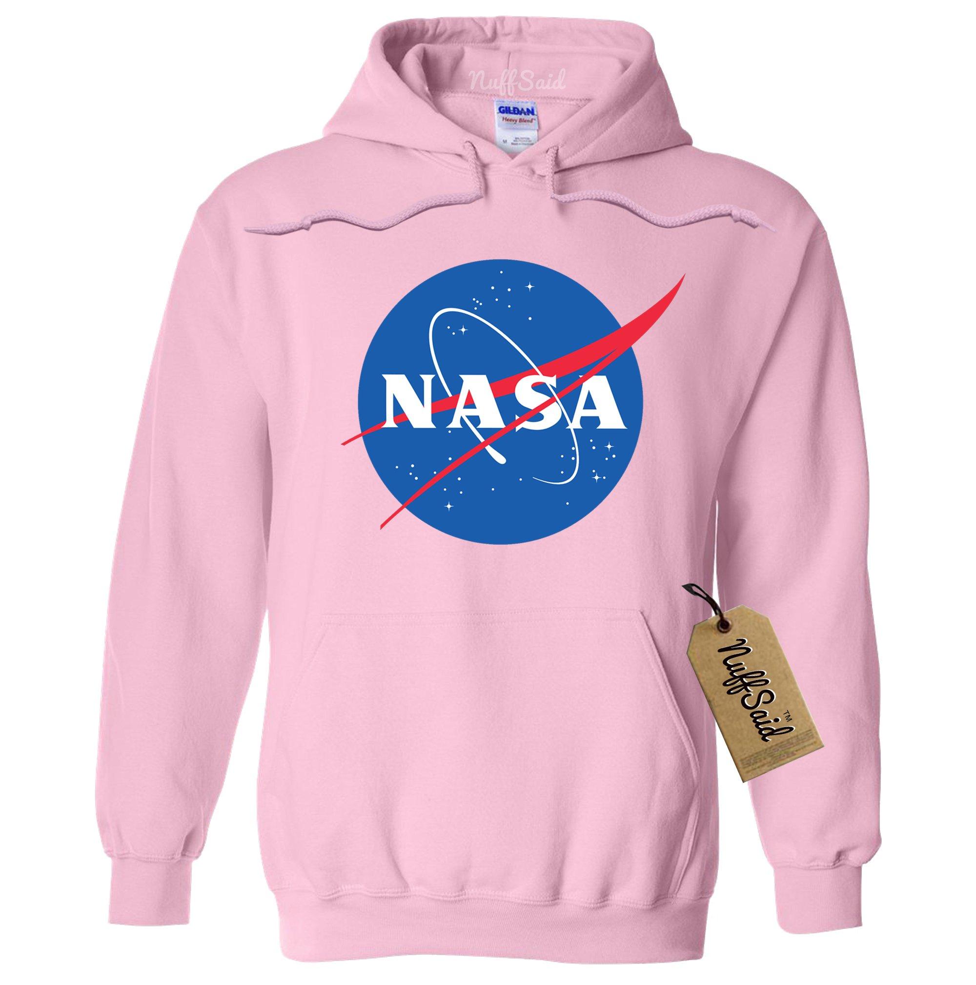 NuffSaid NASA Meatball Logo Worm Hooded Sweatshirt Sweater Pullover - Unisex Hoodie (XLarge, Light Pink)