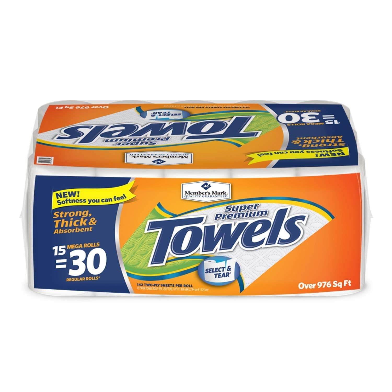 Member's Mark Super Premium Paper Towels 2 Pack (15 Rolls, 150 Sheets per roll) More Absorbent for Even The Toughest by Europe Standard (Image #1)