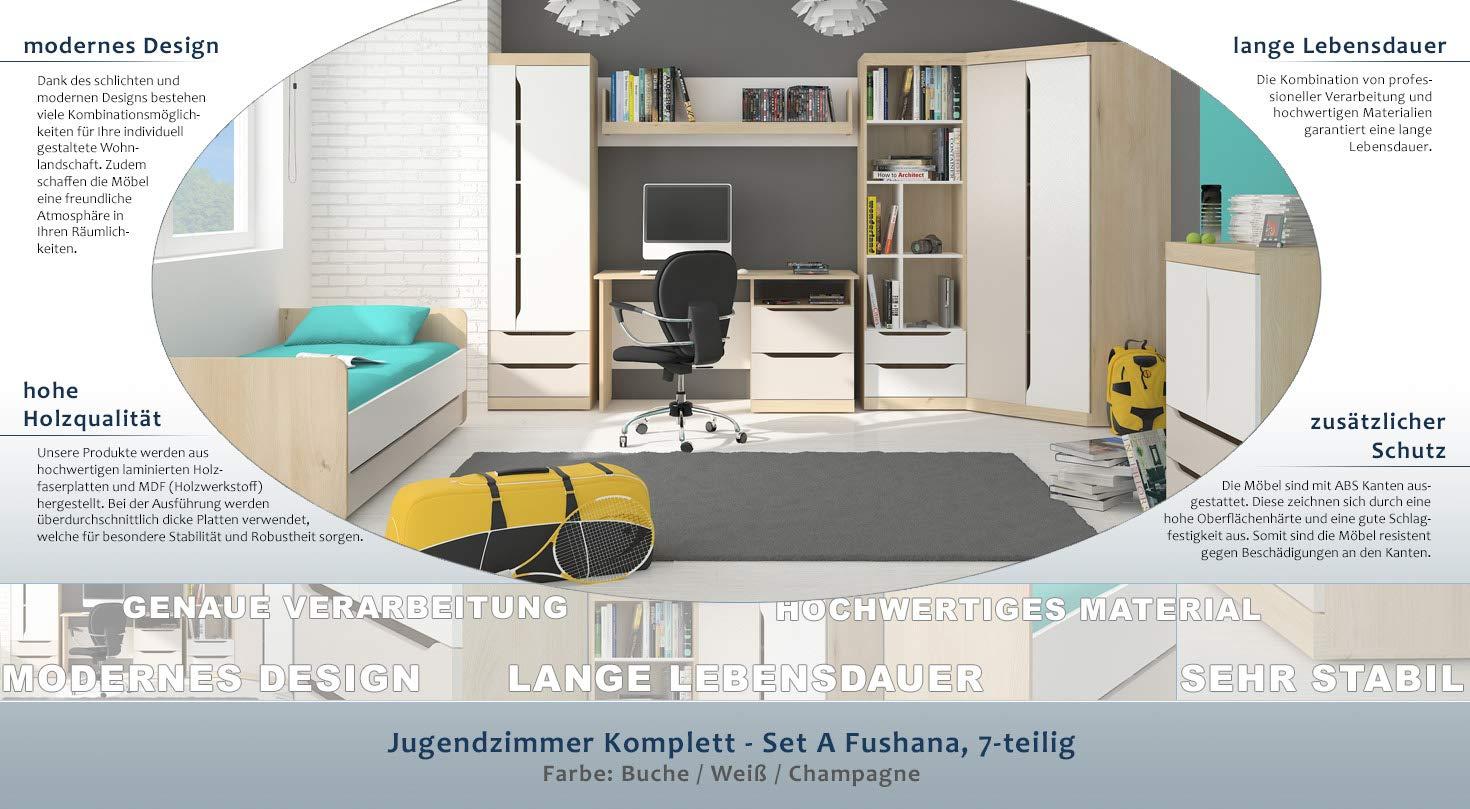 Jugendzimmer Komplett Set A Fushana 7 Teilig Farbe Buche Weiss