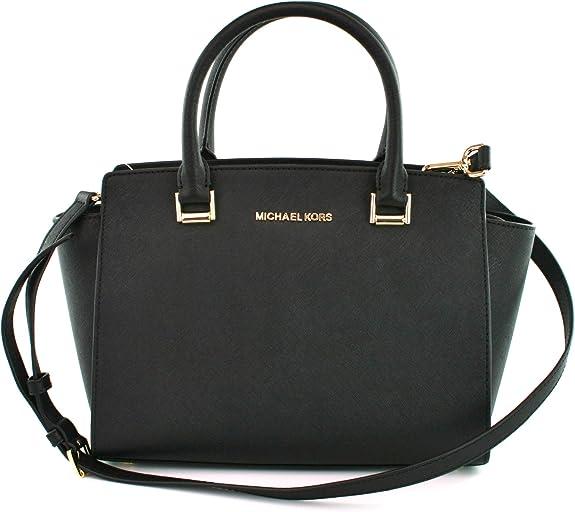 Amazon.com: Michael Kors Selma Saffiano Leather Medium Top Zip ...