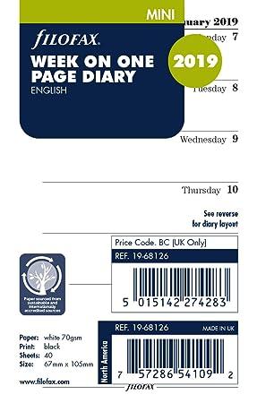 Filofax 19 - 68126 Mini Semana por página Diario de 2019 ...