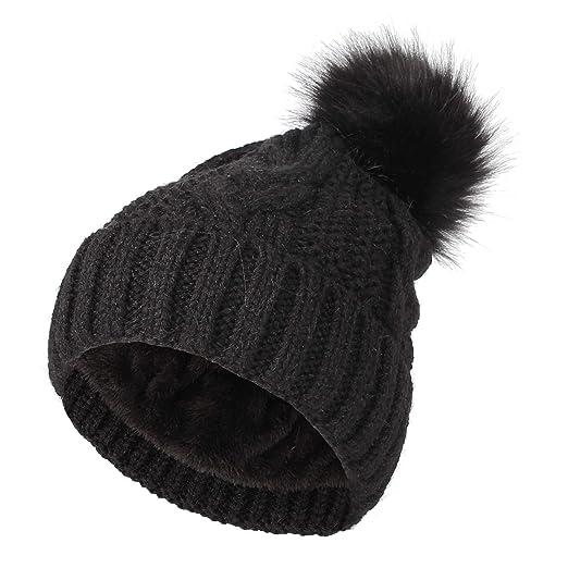 d2fd90656 WITHMOONS Fleece Twist Knit Pom Beanie Winter Hat Slouchy Cap ...