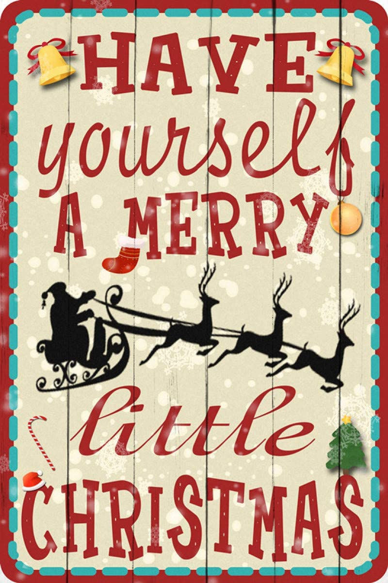 New Metal Tin Sign Retro Vintage Have Yourself A Merry Little Christmas Red Truck Aluminum Sign for Home Coffee Wall Decor 8x12 Inch