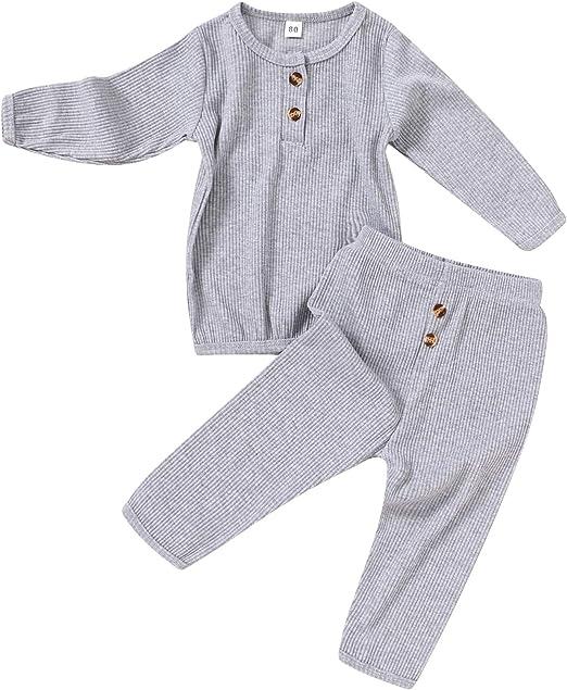 2pcs Kids Boys Girls Autumn Clothes Top+Pants Pajamas Sleepwear Outfits