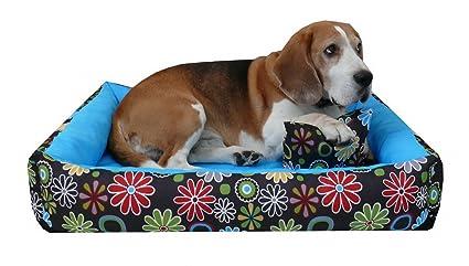 Artur Soja Cama para Perros Saba Talla L 80 x 100 Perros sofá Dormir Espacio Flores + Azul: Amazon.es: Productos para mascotas
