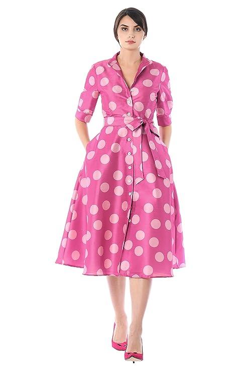 Polka Dot Dresses: 20s, 30s, 40s, 50s, 60s eShakti Womens Polka dot Print Dupioni Shirtdress $79.95 AT vintagedancer.com