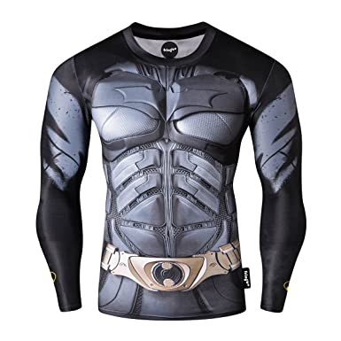 cad67d4a5f23b Fringoo® Mens Compression Superhero Top Base Layer Gym Long Sleeve Running  Thermal Sweatshirt Workout T-Shirt Spider Superman Bat  Amazon.co.uk   Clothing
