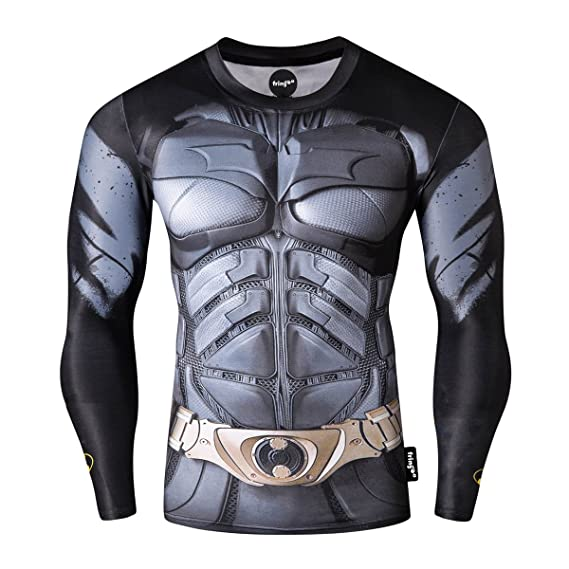 9291dc99cac Fringoo® Mens Compression Superhero Top Base Layer Gym Long Sleeve Running  Thermal Sweatshirt Workout T-Shirt Spider Superman Bat  Amazon.co.uk   Clothing