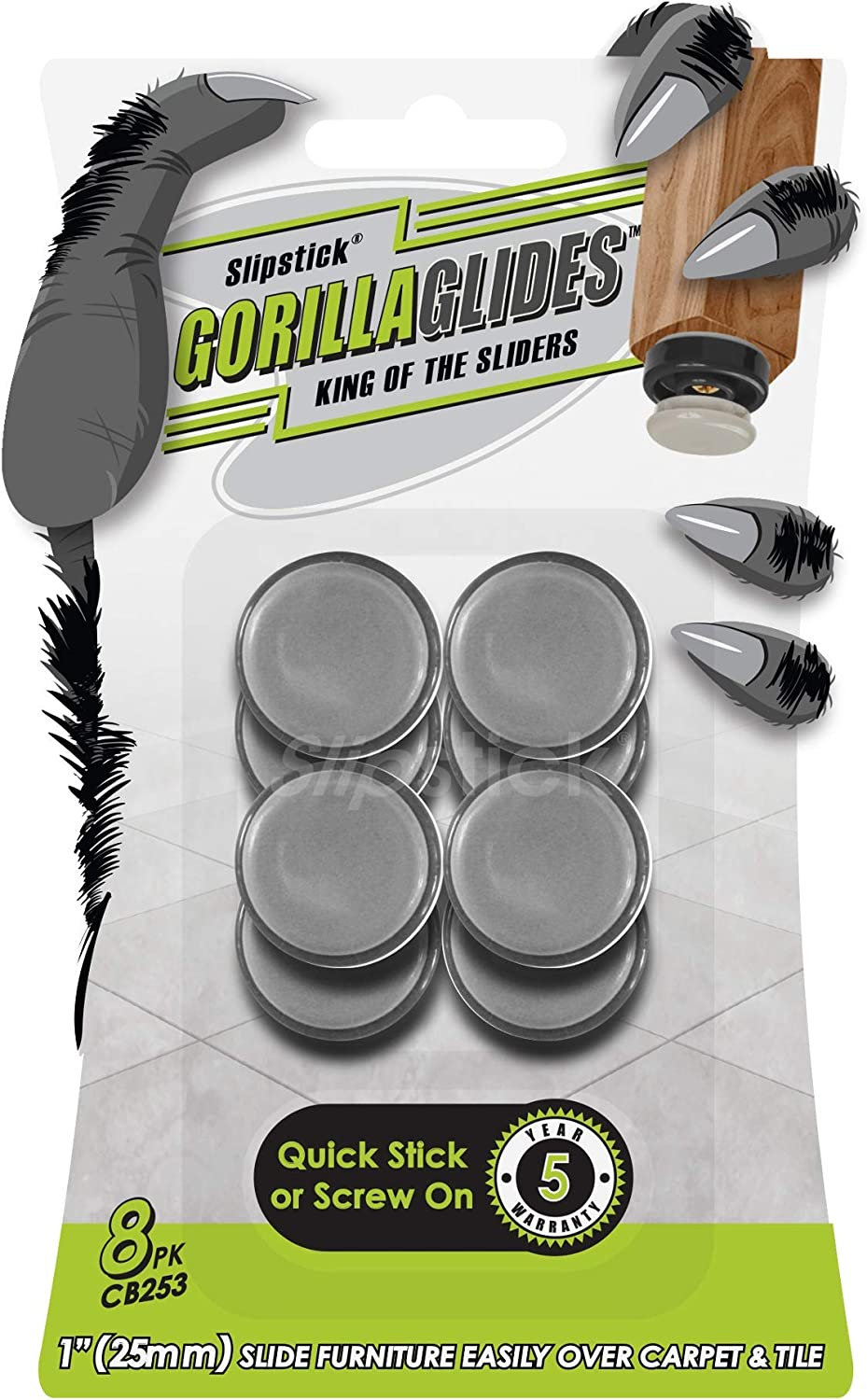 GorillaGlides CB253 1 Inch Plastic Chair Sliders/Furniture Feet Floor Protectors (Set of 8 Glides) Screw-On or Self-Adhesive, Dual Surface, Round