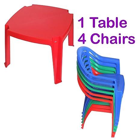 Sedie E Tavoli In Plastica.Set Da Pranzo Per Bambini Con Sedie E Tavolo Di Plastica In Colori