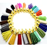 45pcs of Multi-Colors Leather Tassel with Gold Caps Cell Phone Straps/DIY Charms