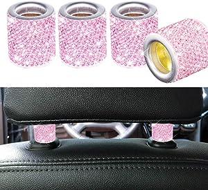 FEENM Car Headrest Head Rest Collars Rings Decor Bling Bling Crystal Diamond Ice for Car SUV Truck Interior Decoration Blings 4 Pack Pink