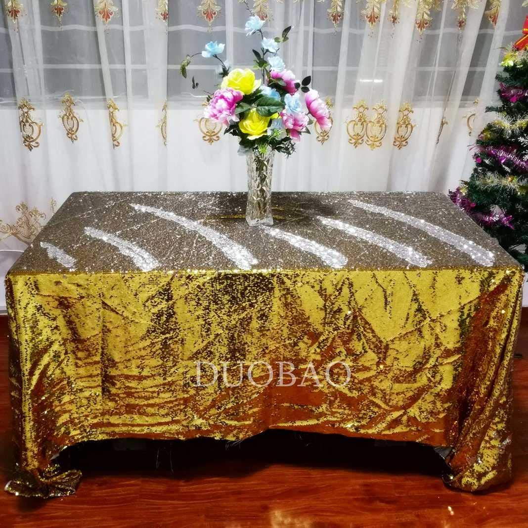 DUOBAO Sequin Tablecloth 60x84-Inch Gold Mermaid Sequin Fabric Gold to Silver Glitter Tablecloth Reversible tablecloths for Rectangle Tables~0516 by DUOBAO (Image #2)