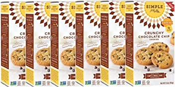 Simple Mills Crunchy Cookies, Chocolate Chip, Naturally Gluten Free, 5.5 oz, 6 count