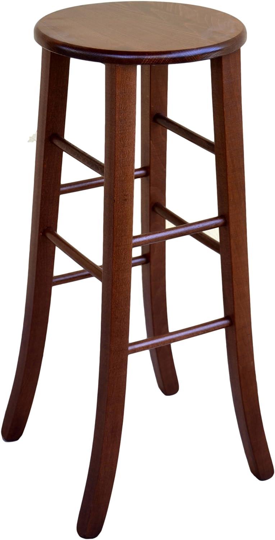 Taburete de madera maciza de 67 cm de alto, de color marrón oscuro, con asiento de madera maciza redondo, para bares, pizzerías, ya montado: Amazon.es: Hogar