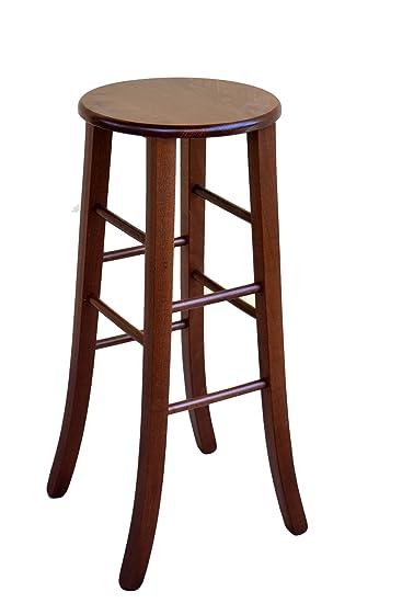 Sgabelli Pub Legno.Sedia Sgabello In Legno Massello H Cm 67 Da Terra Noce Scuro Con Seduta In Massello Rotondo Pub Pizzeria Nuovo Gia Montato