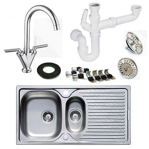 Astracast Stainless Steel Kitchen Sink 1.5 Bowl with Kitchen Mixer ...