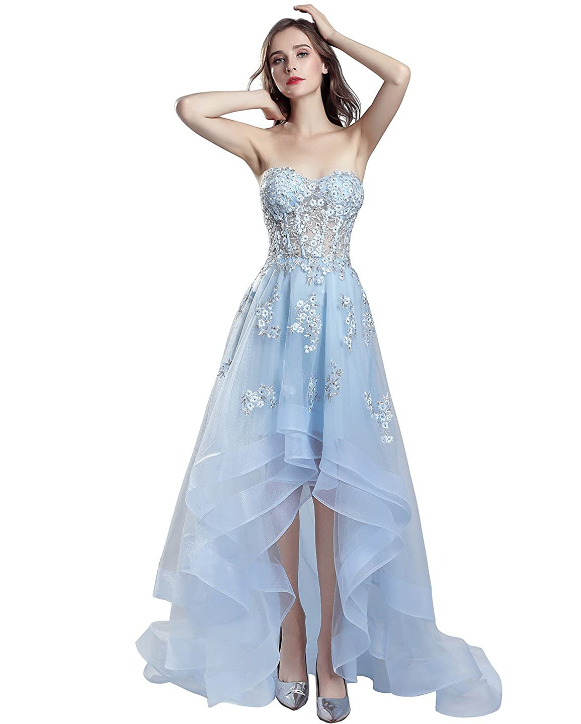 552baby bluee Sarahbridal Women's Tulle HiLow Beading Prom Dresses Evening Homecoming Cocktail Gowns