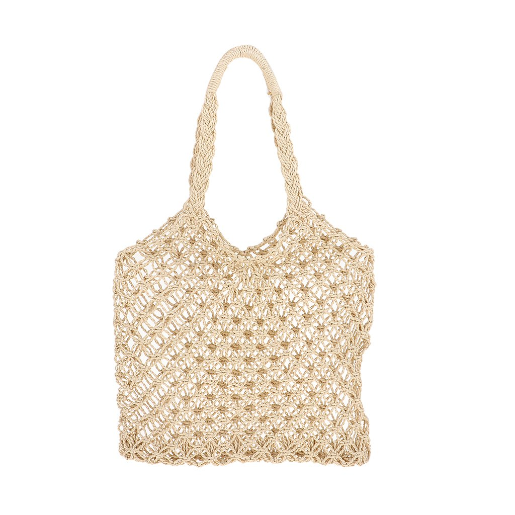 Homyl Pure Vietnam Straw Bags Travel Summer Rattan Bags Handmade Woven Butterf Knot Beach Bags Tote Purse for Women - White, as described