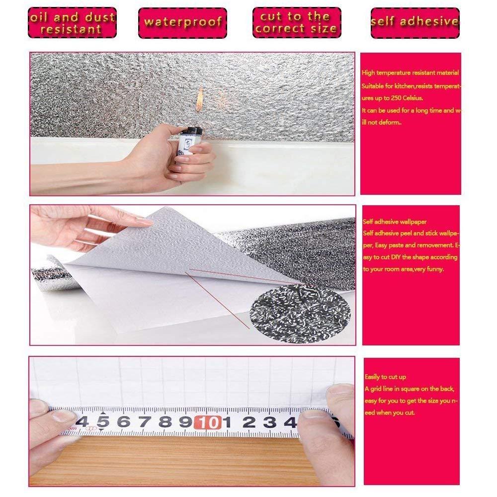 Kitchen-dream Feuille dargent papier-cuisine autocollants auto-adh/ésifs cuisine feuille daluminium autocollants huile preuve /étanche cuisini/ère autocollant 30cm*3m