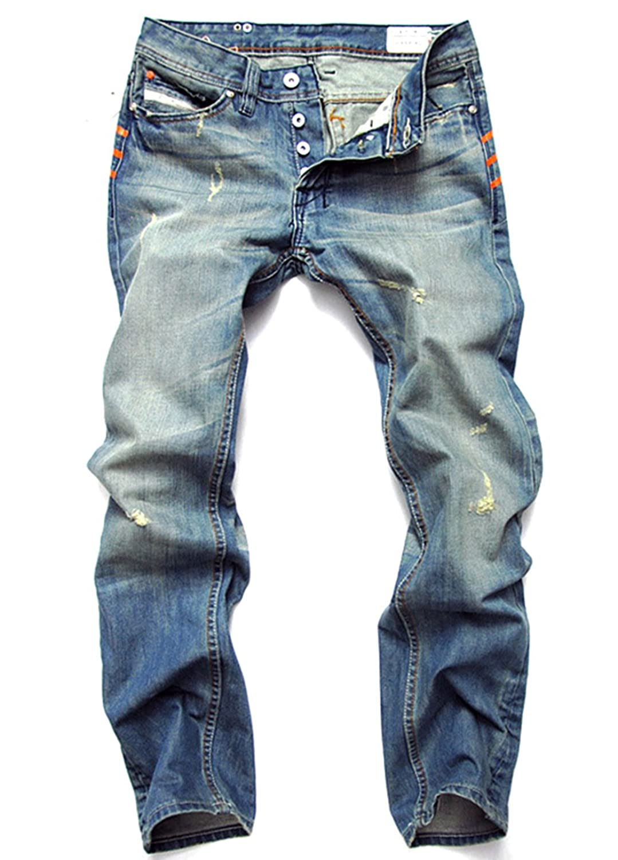 K3K New Mens Fashion Straight Trousers Slim-Fit Denim Pants Casual Jeans