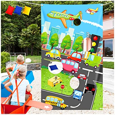 Transportation Toss Game with 3 Bean Bags – Traffic Planes, Cars, Buses, Helicopter, Road Them Birthday Party Porch Sign for Kids Girls Boys Baby Shower Party Decorations Supplies – Outdoor Indoor Act: Toys & Games